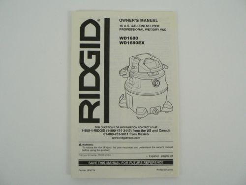 Ridgid WD1680 WD1680EX Shop Vac Vacuum Leaf Blower Owners Instruction Manual - $25.00