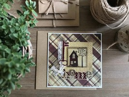 Home sweet home greeting card, Thanksgiving day family card, Handmade card - $7.99