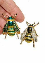 """1.75"""" H Brooch Bee, Fly Insect Brooch Pin Yellow & Green Enamel Safety Catch  - $8.95"""