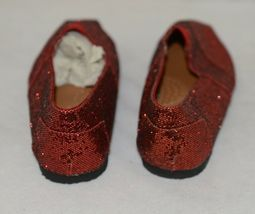 Vintage Elena01 Slip On Flat Rubber Sole Red Glitter Size 5 And Half image 4