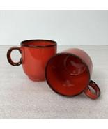 Thomas Rosenthal Germany Espresso Coffee Mugs 024 Vintage Red Black Flam... - $39.59