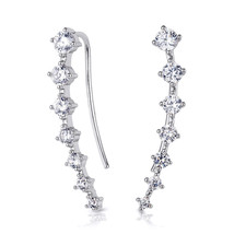0.75 Carat Brilliant Cuff Fashion Earrings White & Rose Gold Plated Wome... - $24.00