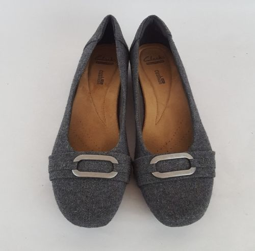 Clarks collection flats cushioned gray textile felt women's 8.5