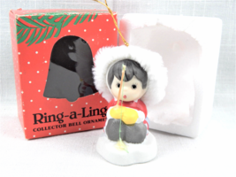 Vintage 1986 BOA Ring-a-Lings Bisque Porcelain Fishing Boy Bell Ornament... - $12.95