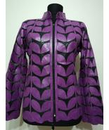 Plus Size Purple Leather Leaf Jacket Women All Colors Sizes Genuine Zip ... - $150.00