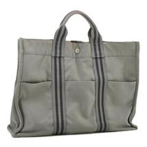 HERMES Fourre Tout MM Hand Bag Gray Cotton Auth 9051 - $110.00