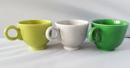 Fiestaware Fiesta Teacup Set of 3 Green Gray Coffee Tea Cups Vintage 1950's - $27.35