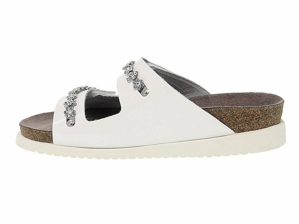 Sandales plates MEPHISTO HERMINE en cuir verni blanc - Chaussures Femme