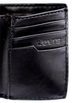 NEW LEVI'S MEN'S LEATHER TRIFOLD CREDIT CARD WALLET EMBOSSED LOGO BLACK 31LV1182 image 8