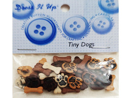 Dress It Up Buttons Tiny Dogs, Flat Back and Shank Buttons