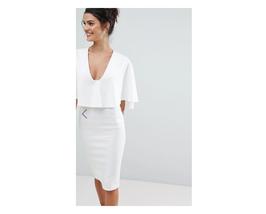 ASOS Design Plunge Cape Midi Bodycon Dress Ivory Size US 12 NWT - $29.69