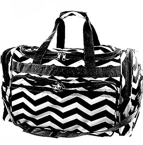 "Durable High Quality Chevron Print 22"" Duffel Travel Cheer Dance Gym Bag (Black)"