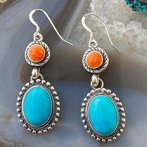 Sterling Silver Oval Turquoise and Spiny Earrings - $115.00
