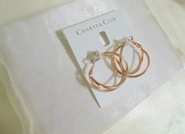 "Charter Club 1-1/8"" Rose Gold-Tone Double Criss Cross Hoop Earrings H902... - $10.55"