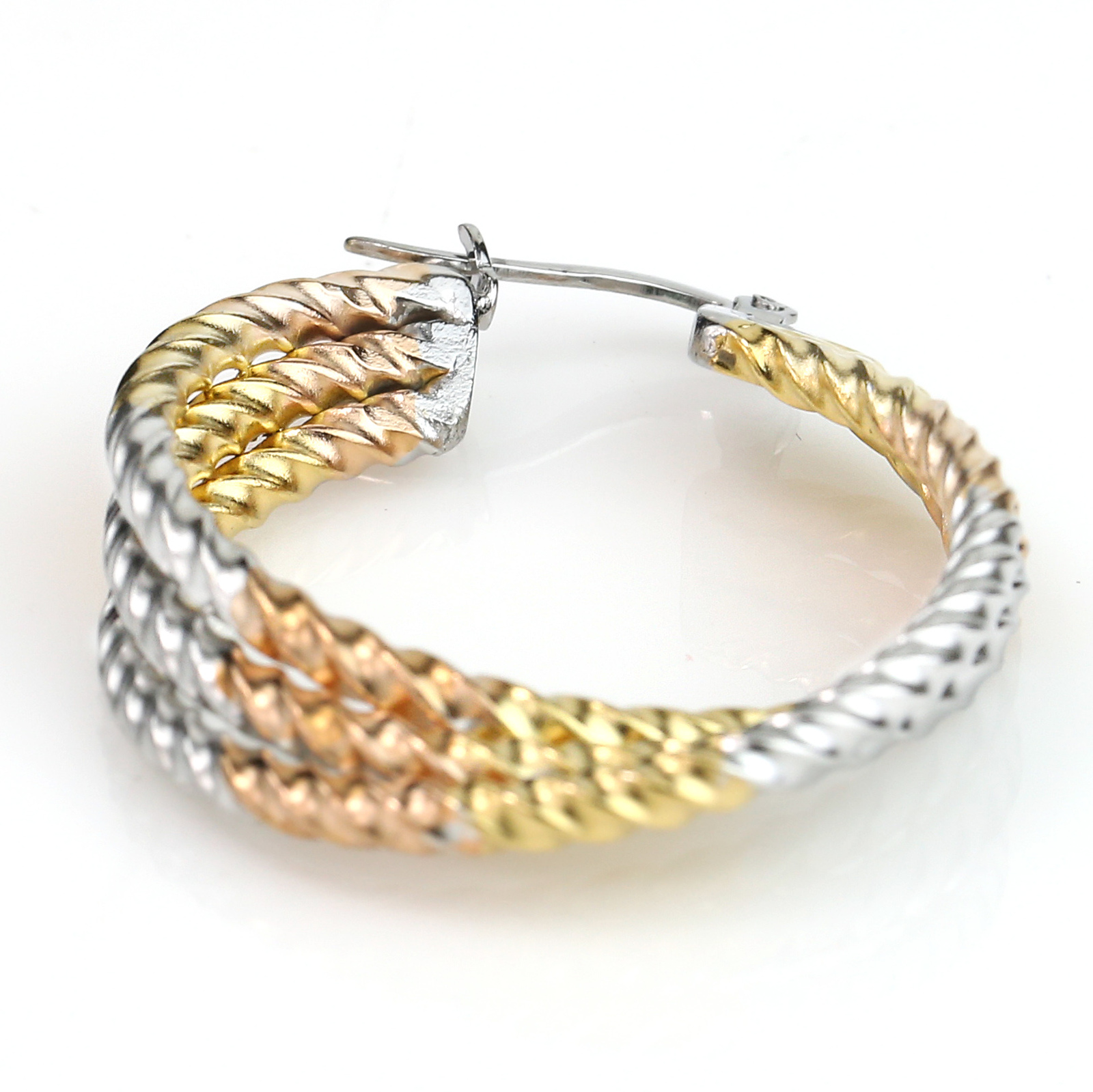 Contemporary Twisted Tri-Color Silver, Gold Hoop Earrings- United Elegance image 3