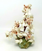 """Hand Made 10.5"""" Bonsai TREE SCULPTURE Copper Wire & Shells on a Green St... - $27.23"""
