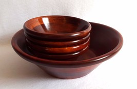 Mountain Woods 5 Piece Mahogany Wood Salad Bowl Set Wooden Bowls - $49.45