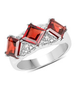 Sterling Silver 3.84 Carat Genuine Garnet and White Topaz Ring Size 6 7 8 - $64.95