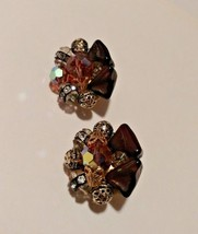 Vintage  Clip Earrings Topaz/Bronze with Crystals 1960s Juliana - $9.99