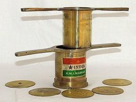 Vintage Brass Cookie Press Set India R M I Madras 5 Disks Rare - $59.39