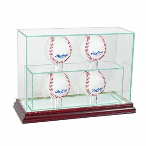Glass Upright 4 Baseball Display Case Uv Protection Cherry Wood And Mirror