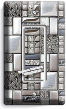 BRUSHED CROME TILE METAL DESIGN SINGLE GFI LIGHT SWITCH WALL PLATE KITCH... - $8.99