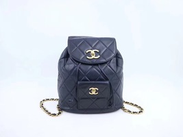 100% AUTHENTIC CHANEL VINTAGE  BLACK QUILTED LAMBSKIN BACKPACK GHW