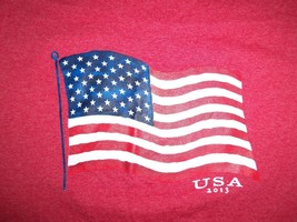 Faded Glory USA Patriotic Flag 2013 Red 60/40 Graphic Print T Shirt XL - $17.17