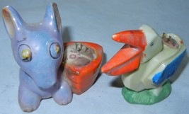 2  Vintage Japan Porcelain Pin Cushion Purple Donkey and Seagull - $21.99