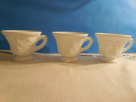 3 Indiana Colony Milk Glass Harvest (Grape & Vine) footed Punch/Snack Cups - $5.45