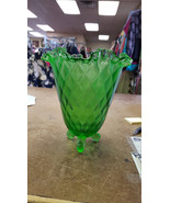 "Beautiful Fenton Art Glass 7"" Threaded Diamond Optic Vase - Springtime G... - $49.99"