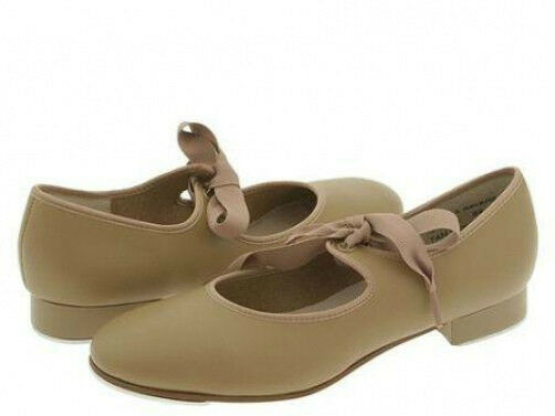 Award TS110 Child 8.5W (Fits Toddler Size 7.5)Tan Citation Ribbon Tie Tap Shoe image 1