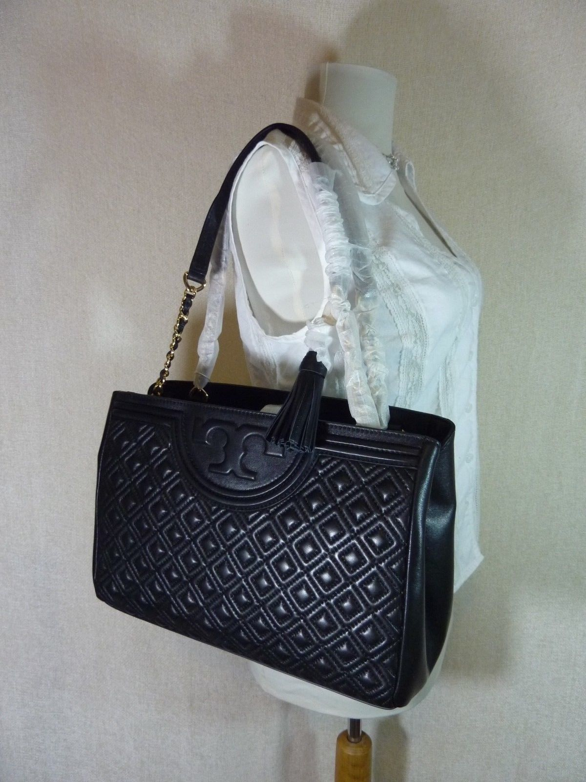 NWT Tory Burch Black Fleming Open Shoulder Tote image 2
