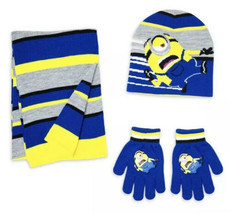 Boys Despicable Me Minion Winter Hat Gloves Scarf Yellow Black Stripe 3p... - $19.99
