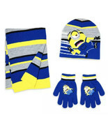 Boys Despicable Me Minion Winter Hat Gloves Scarf Yellow Black Stripe 3p... - £14.51 GBP