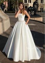 Delicate Satin Stapless Neckline A-line Bridal Dress Open Back Beading Sash Wedd image 2