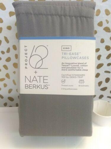 Nate Berkus (KING)-500 TC Tri Ease Herringbone Pillowcase Set Project 62 GREY