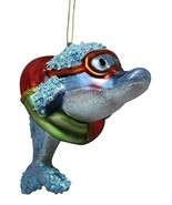 December Diamonds Coastal Dolphin in Goggles Glass Holiday Christmas Orn... - $16.99