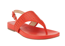 Isaac Mizrahi Live! Leather Cutout Sandals ORANGE PINK 8M - $39.59