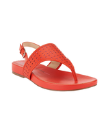 Isaac Mizrahi Live! Leather Cutout Sandals ORANGE PINK 8M - £28.11 GBP