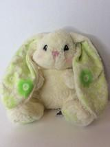 Aurora Bunny Rabbit Easter Yellow Plush Lime Green Floral Long Ear Lopsi... - $15.14