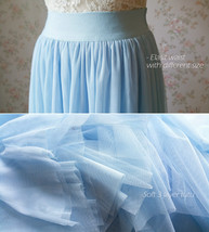 Light Blue Wedding Tulle Skirt High Waisted Full Long Tulle Skirt image 4