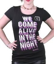 Bench UK da Donna Nero Nocturnal Fosforescente Come Alive At Night T-Shirt Nwt