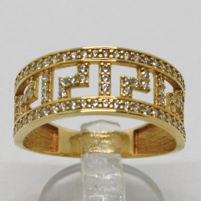 SOLID 18K YELLOW GOLD BAND RING WITH ZIRCONIA, BINARY, GREEK, MADE IN ITALY