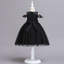 Ball Gowns Black Tulle Embroidery Kids Flower Girl Dress Strapless Party Gowns  image 2