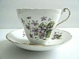Regency English Bone China Tea Cup & Saucer Violets Pattern Made In England - $9.85