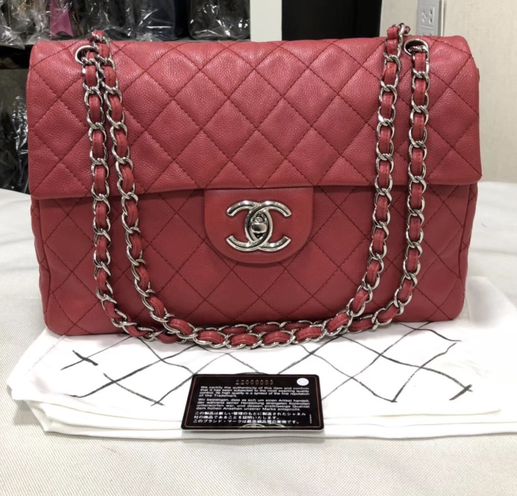 bc6d8134709 AUTHENTIC CHANEL MAXI RED PINK QUILTED SOFT CAVIAR CLASSIC FLAP BAG ...