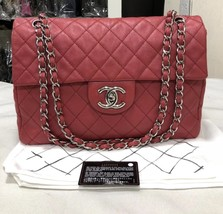 AUTHENTIC CHANEL MAXI RED PINK QUILTED SOFT CAVIAR CLASSIC FLAP BAG SHW