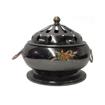 Chinese Thin Metal Metallic Gray Incense Burner fs546E - $275.00