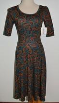 New LuLaRoe Dress Nicole Green Leaves A-Line XS - $28.04